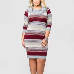 MULTI STRIPE COWL NECK SWEATER DRESS